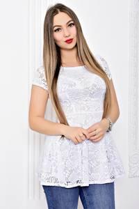Блуза белая с кружевом с баской С9118