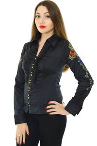 Рубашка с кружевом с длинным рукавом Н8327