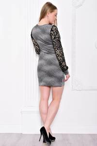 Платье короткое с длинным рукавом облегающее С7586