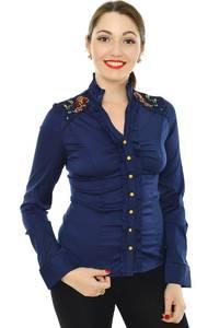Рубашка синяя с кружевом Н8330