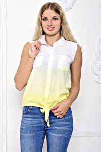 Рубашка белая прозрачная с коротким рукавом С8377