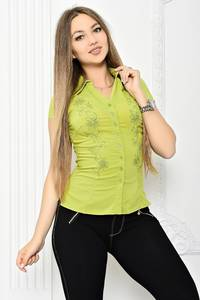Рубашка с коротким рукавом однотонная Т2071