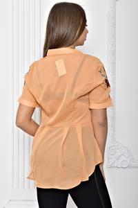Рубашка прозрачная однотонная с коротким рукавом Т2294
