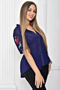 Рубашка синяя прозрачная с коротким рукавом Т2295