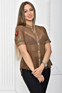 Рубашка прозрачная однотонная с коротким рукавом Т2296
