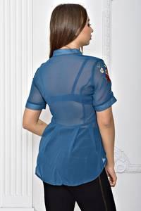Рубашка синяя прозрачная с коротким рукавом Т2297