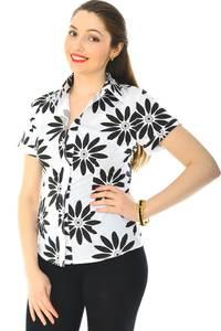 Рубашка  белая с принтом с коротким рукавом Н6250