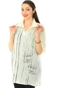 Рубашка  белая прозрачная с коротким рукавом Н6252