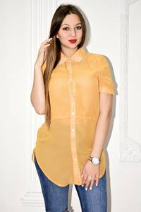 Рубашка прозрачная с коротким рукавом С0131