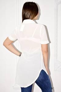 Рубашка белая прозрачная с коротким рукавом С0132
