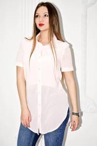 Рубашка белая прозрачная с коротким рукавом С0134