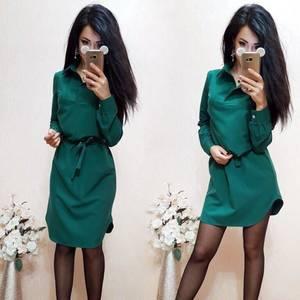 Платье короткое однотонное с длинным рукавом С8008