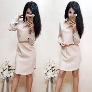 Платье короткое однотонное с длинным рукавом С8010