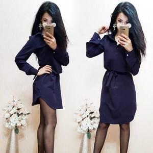 Платье короткое однотонное с длинным рукавом С8011