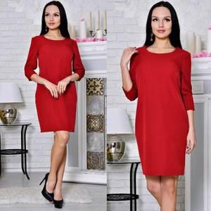 Платье короткое футляр красное С8642