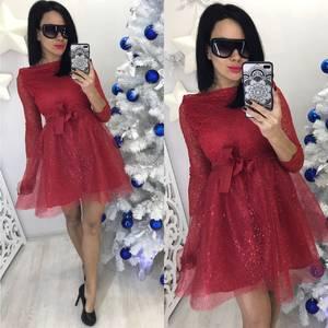 Платье короткое коктейльное красное С8523