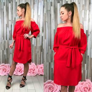 Платье короткое однотонное красное С8594