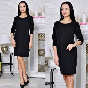 Платье короткое футляр черное С8643
