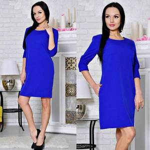 Платье короткое футляр синее С8644