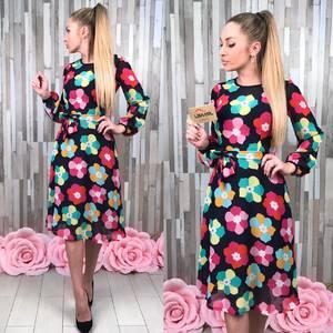 Платье короткое с длинным рукавом с принтом С8618