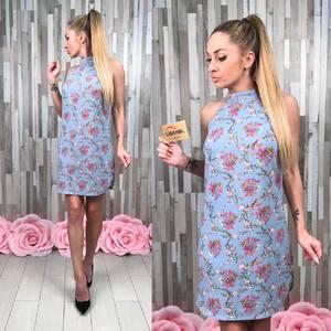 Платье короткое без рукавов с принтом С8616