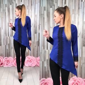 Блуза синяя с кружевом с длинным рукавом С8829