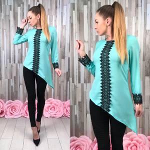 Блуза голубая с кружевом с длинным рукавом С8830