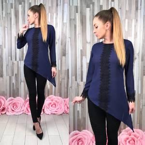 Блуза синяя с кружевом с длинным рукавом С8832