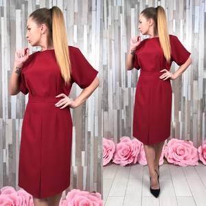 Платье короткое футляр красное С9237
