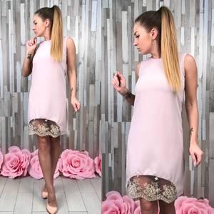 Платье короткое без рукавов однотонное С9577