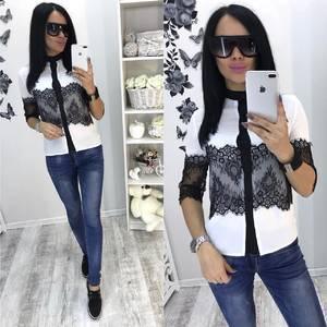 Рубашка белая с кружевом Т0057