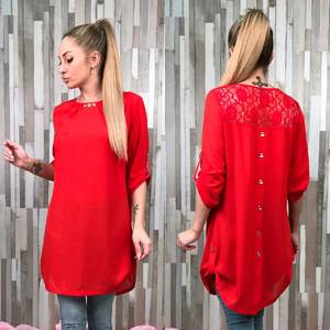Блуза красная с длинным рукавом С7535