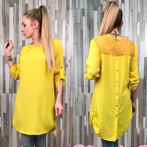 Блуза желтая с длинным рукавом С7538