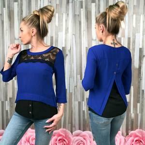 Блуза синяя с кружевом С7525