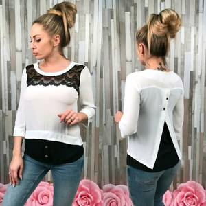 Блуза белая с кружевом С7526