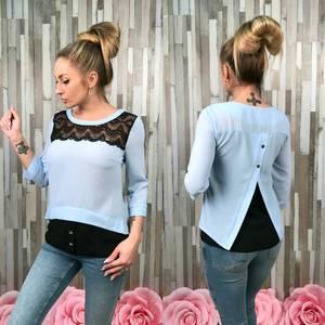 Блуза голубая с кружевом С7521