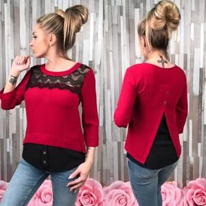 Блуза красная с кружевом С7522