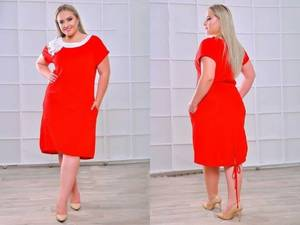 Платье короткое нарядное красное Т8031