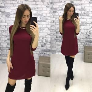 Платье короткое классическое однотонное Р2576