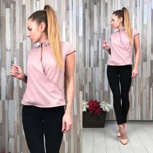 Блуза розовая с коротким рукавом Р5363