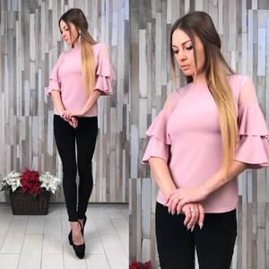 Блуза розовая с коротким рукавом Р6132