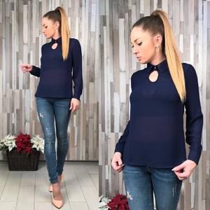 Блуза синяя прозрачная с длинным рукавом Р6472