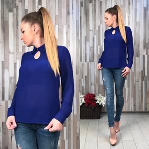 Блуза синяя прозрачная с длинным рукавом Р6473