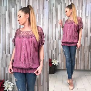 Блуза розовая с кружевом с коротким рукавом Р6636