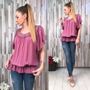 Блуза розовая с коротким рукавом Р6640