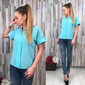 Блуза голубая с коротким рукавом Р7061