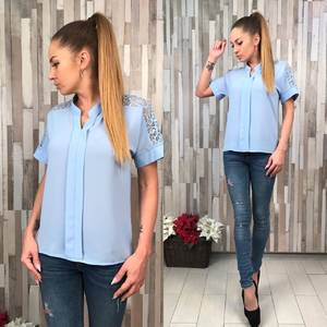 Блуза голубая с коротким рукавом Р7062