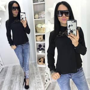 Блуза черная с длинным рукавом Р8450