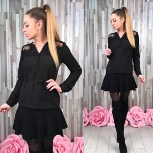 Блуза черная для офиса с длинным рукавом Р8643