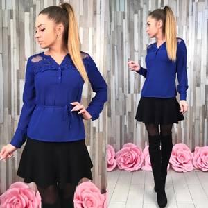 Блуза синяя с длинным рукавом Р8644
